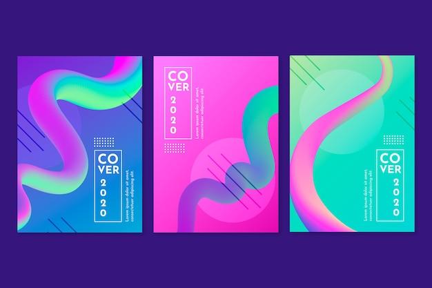 Collection de couvertures de lignes colorées abstraites