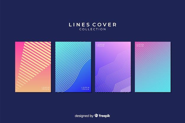 Collection de couvertures de lignes géométriques colorées