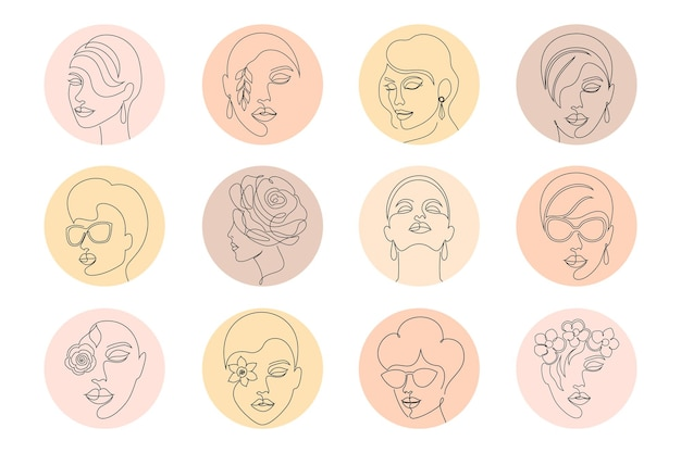 Collection de couvertures de médias sociaux avec des visages de femmes.