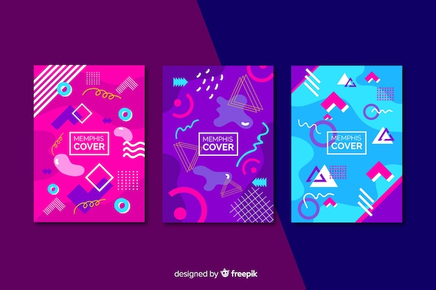 Collection de couvertures memphis dans les tons rose et violet