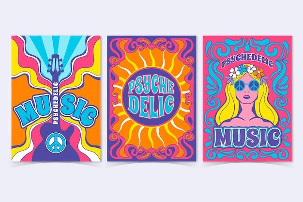 Collection De Couvertures De Musique Psychédélique Vecteur gratuit