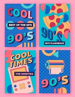 Collection de couvertures nostalgiques plates dessinées à la main des années 90