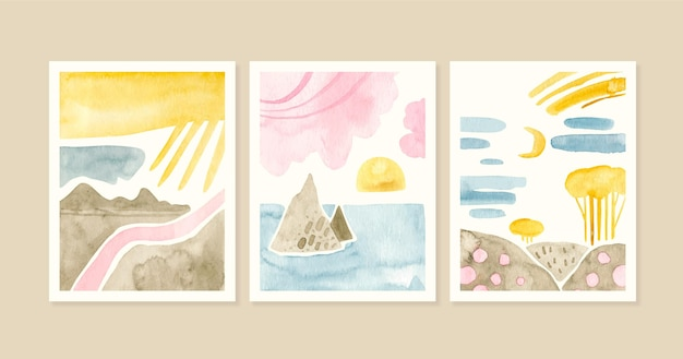 Collection de couvertures de paysage minimal aquarelle