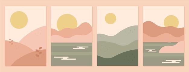 Collection De Couvertures De Paysage Plat Abstrait Vecteur gratuit