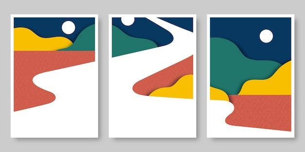 Collection de couvertures de paysage plat abstrait