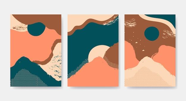 Collection de couvertures de paysages abstraits dessinés à la main