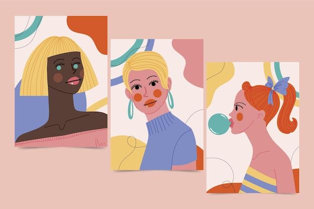 Collection de couvertures de portraits de mode à la mode dessinés à la main
