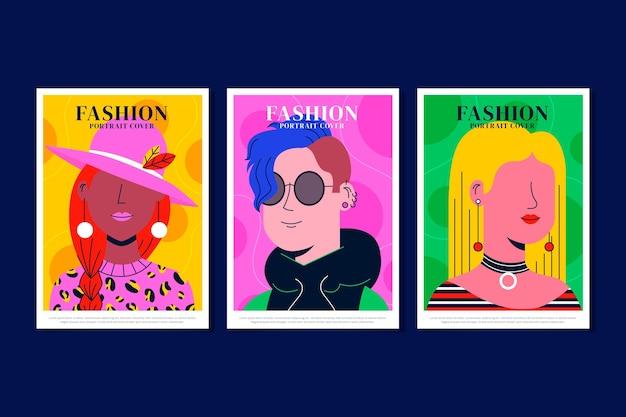 Collection de couvertures de portraits de mode à la mode plat
