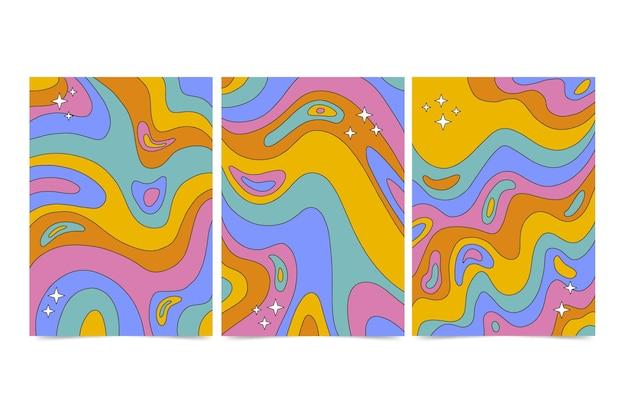 Collection de couvertures psychédéliques groovy dessinées à la main