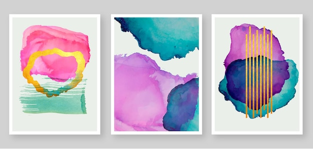 Collection de couvertures de taches aquarelle abstraites