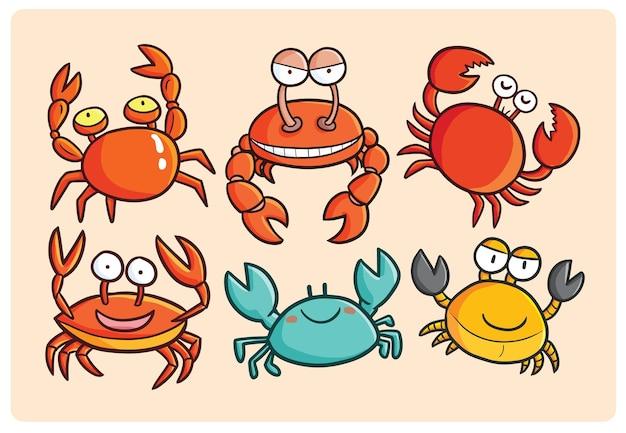 Collection de crabe drôle dans le style de dessin animé kawaii
