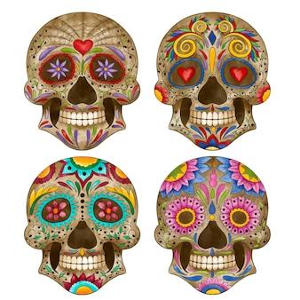 Collection de crânes aquarelle dia de muertos