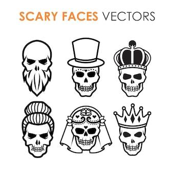 Collection de crânes à contour noir et blanc avec des personnages et des dessins multiples