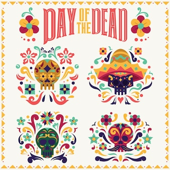 Collection de crânes day of the dead dia de los muertos avec typographie