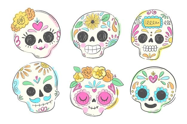 Collection de crânes dia de muertos dessinés à la main