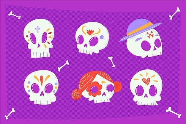 Collection de crânes plats dia de muertos dessinés à la main
