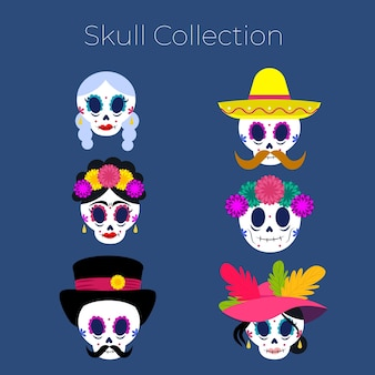 Collection de crânes plats dia de muertos