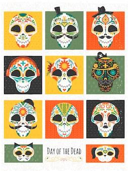 Collection de crânes de sucre mexicain