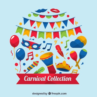 Collection créative d'éléments de carnaval coloré