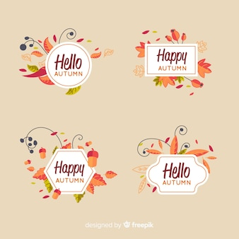 Collection créative d'étiquettes d'automne