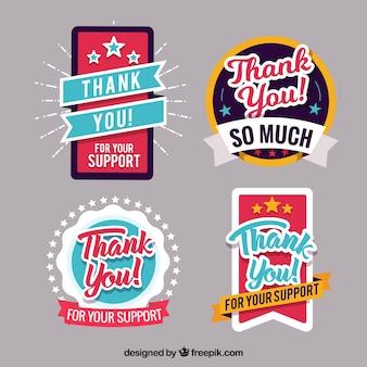 Collection créative d'étiquettes de remerciement