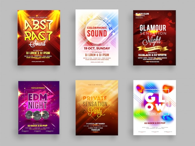 Collection créative de flyer fête musicale