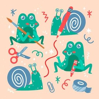 Collection de créativité mignonne dessinée à la main