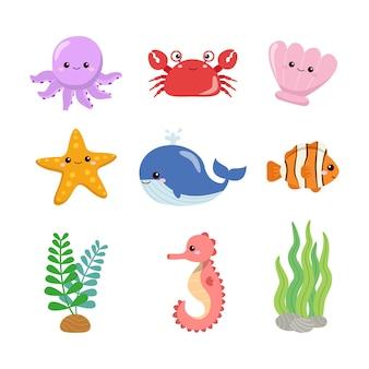 Collection de créatures marines colorées mignonnes animaux sous-marins conception de dessin animé de vecteur plat