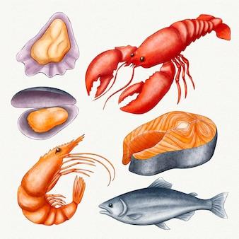 Collection de créatures océaniques aquarelle