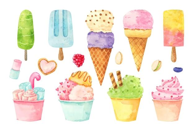 Collection de crème glacée aquarelle peinte à la main