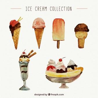Collection de crème glacée aux aquarelles