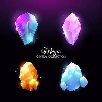 Collection de cristaux colorés brillants