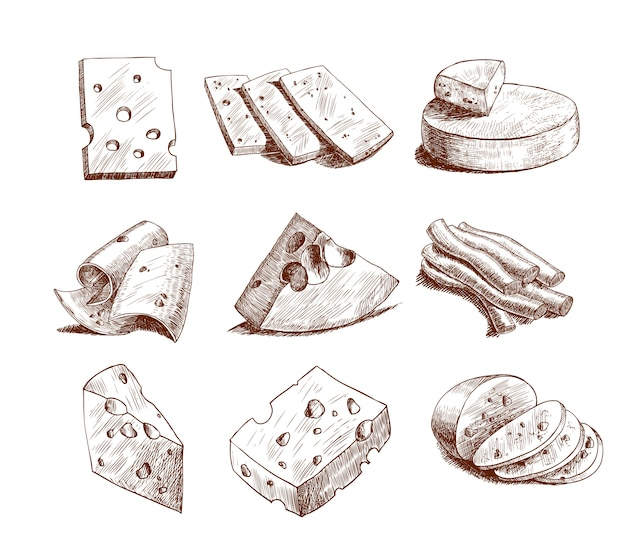 Collection de croquis de fromage