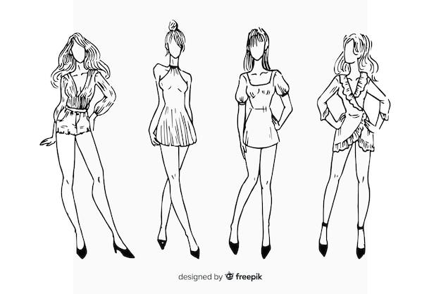 Collection de croquis de mode avec des modèles