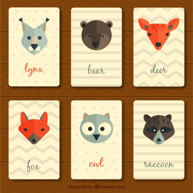 Collection de cru cartes animaux en design plat