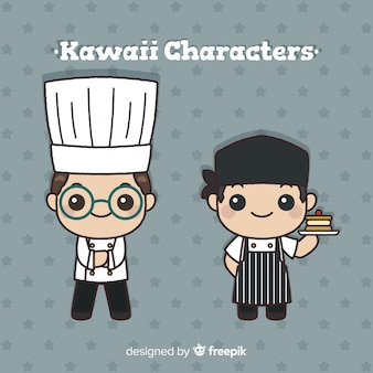 Collection de cuisiniers kawaii dessinés à la main