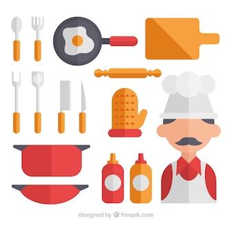 Collection de cuisiniers et ustensiles de cuisine en conception plate