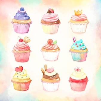 Collection de cupcake coloré aquarelle