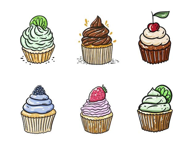 Collection de cupcakes dessinés à la main
