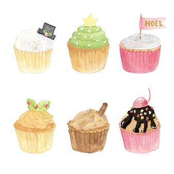 Collection de cupcakes de noël aquarelle isolée sur fond blanc