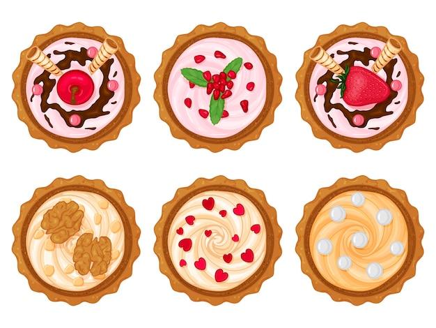 Collection de cupcakes sucrés avec diverses garnitures. style de bande dessinée. illustration. isolé sur blanc.