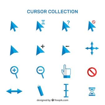 Collection de curseur bleu