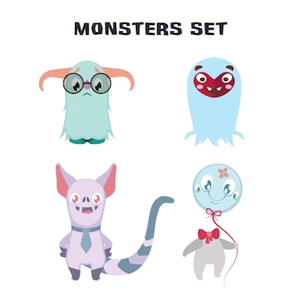 Collection cute monsters
