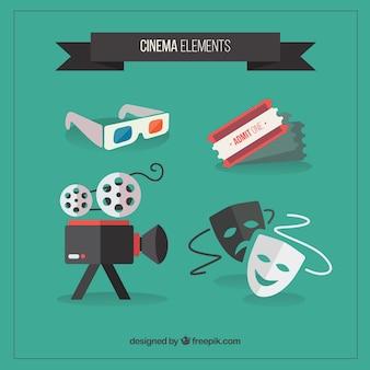 Collection d'accessoires de cinéma en design plat
