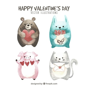 Collection d'animaux Saint-Valentin dessinés à la main