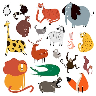 Collection d'animaux sauvages mignons en vecteur de style dessin animé