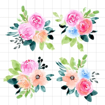 Collection d'arrangement floral aquarelle