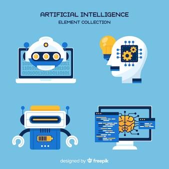 Collection d'éléments d'intelligence artificielle en design plat