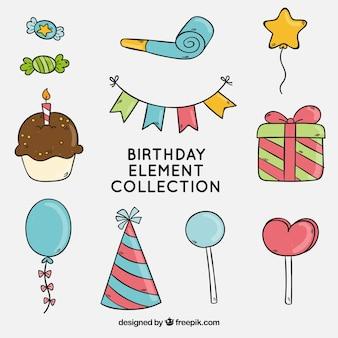 Collection d'éléments de Birthday style dessiné à la main