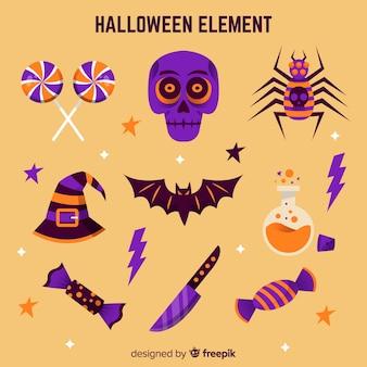 Collection d'éléments de halloween coloré avec un design plat
